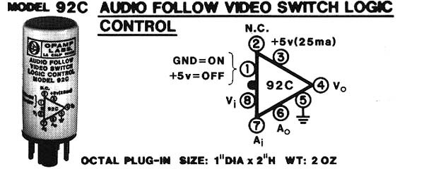 Model 92C +5V Audio Follow Video Switch Logic Control