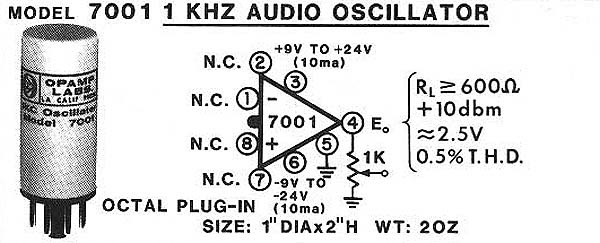 Model 7001 1KHz Audio Oscillator